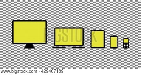 Simple Device Icons. Computer Laptop Computer Laptop Modern Smartphone Tablet Phone Icon. Vector Ill