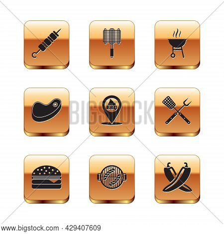 Set Grilled Shish Kebab, Burger, Barbecue Grill With Sausage, Location Barbecue, Steak Meat, Crossed