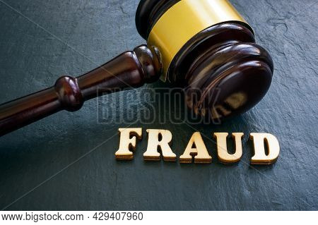 Word Fraud And Gavel As Symbol Of Justice.