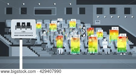 Detecting Elevated Body Temperature Of People In Cinema Checking By Non-contact Thermal Ai Camera St