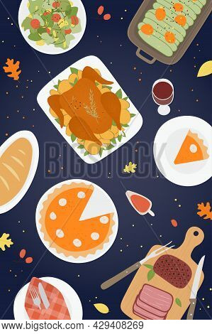 Thanksgiving Traditional Dinner Background With Roasted Turkey, Ham, Pumpkin Pie, Cakes, Cookies. Ha