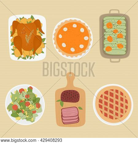 Thanksgiving Day Food. Design Elements Of Thanksgiving Celebration Harvest. Traditional Turkey, Pump