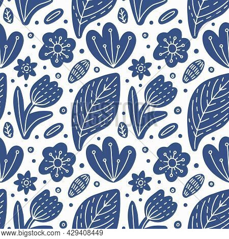 Ethnic Floral Seamless Pattern. Abstract Blue White Flower And Leaves With Folk Style Dotted Line Or