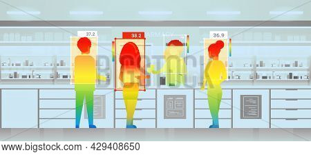 Detecting Elevated Body Temperature Of People In Drugstore Checking By Non-contact Thermal Ai Camera