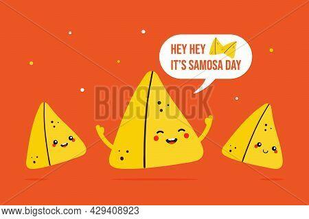 World Samosa Day Vector Cartoon Style Greeting Card, Illustration With Three Cute, Funny Samosa Past