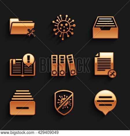 Set Office Folders, Stop Virus, Bacteria, Speech Bubble Chat, File Document Service, Drawer With Doc