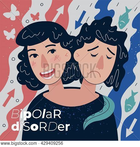 Bipolar Disorder Abstract Banner. Visualization Psychedelic Human Emotion Mania, Depression And Abno