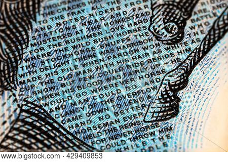 Macro Photography Of The Microprint Or Microtext On The Australian 10 Dollar. Poems Of Ab Banjo Pate