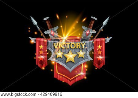Victory Game Badge, Vector Rank Award Trophy Illustration, Stone Achievement Medal, Stars, Sword, Sp