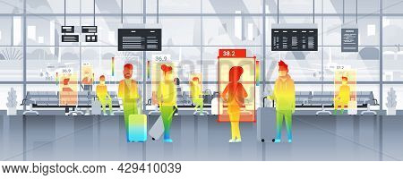Detecting Elevated Body Temperature Of People Walking In The Airport Checking By Non-contact Thermal