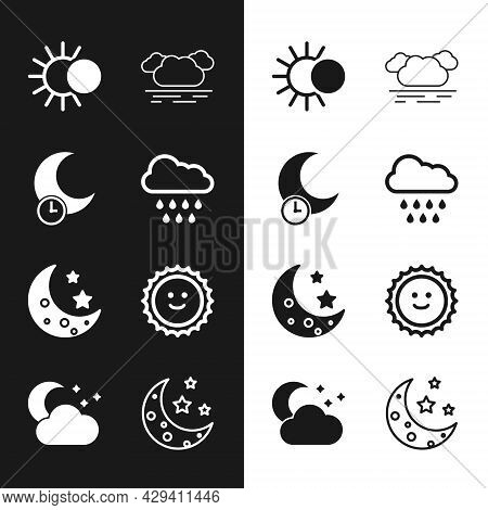 Set Cloud With Rain, Sleeping Moon, Eclipse Of The Sun, Moon And Stars, Sun, And Icon. Vector