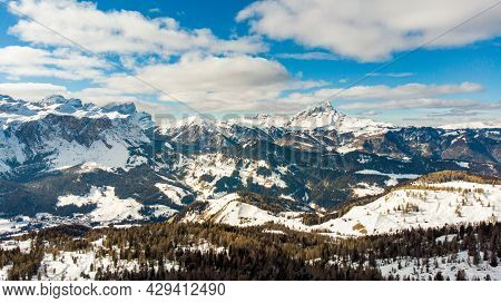 Aerial Panorama View Over The Alps At South Tirol, Tirol, Italy, Europe. Skiing With Drone In The Al