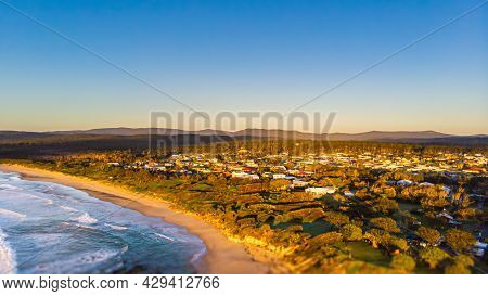 Aerial View Of The Sun Rise At The Beach Of Village Of Yeppoon, Queensland, Australia. At The Shore