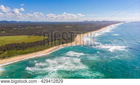 Aerial View Of The Shoreline Of Sunshine Coast, Queensland, Australia. Drone View Over The Beaches O