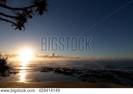 Sun Rise At The Beach Of Village Of Yeppoon, Queensland, Australia. At The Shore Of The Pacific Ocea