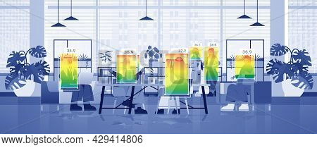 Detecting Elevated Body Temperature Of Arab Businesspeople In Office Checking By Non-contact Thermal
