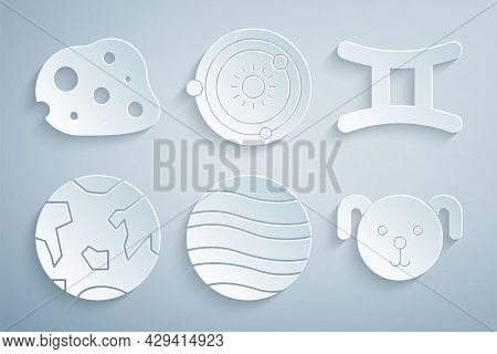 Set Planet Jupiter, Gemini Zodiac, Earth, Dog, Solar System And Asteroid Icon. Vector