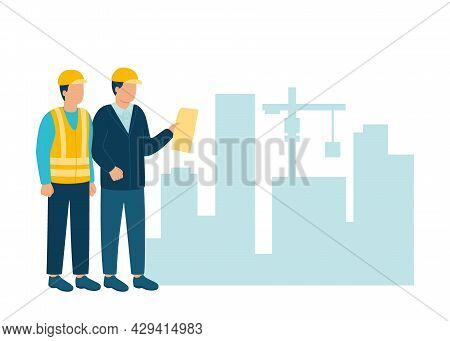 Worker Contractor, Builder Communicate With Build Industry Architect In Helmet Discuss New Project.