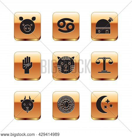 Set Pig Zodiac, Aries, Astrology Horoscope Circle, Tiger, Palmistry Of The Hand, Astronomical Observ