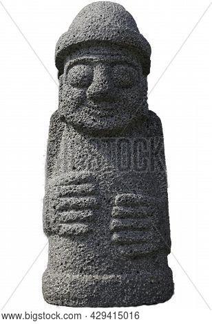 Dol Hareubangs Jeju Sculpture Isolated On White Background - Jeju Island Statue South Korea