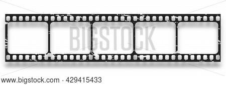 Grunge Film Strips Collection. Old Retro Cinema Movie Strip. Video Recording.
