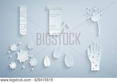 Set Sesame Seeds, Flower Producing Pollen, Bacteria, Hand With Psoriasis Or Eczema, Medicine Bottle