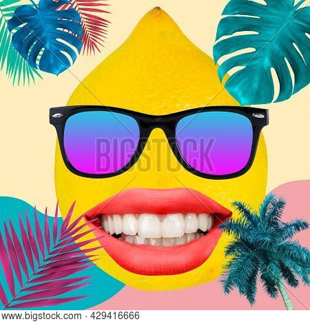 Happy Smile. Composition With Female Mouth And Sun Eyewear On Floral Color Summer Background. Copysp
