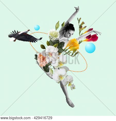 Dancing Woman A Ballet Dancer Or Performer With Flowers. Copyspace. Modern Design. Contemporary Art