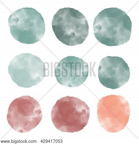 Collection Of Abstract Watercolor Textured Marble Organic Shape Circles In Blue And Purple Tones, Ir