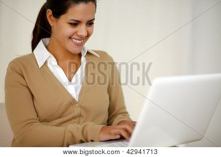 Stylish Young Woman Working With Laptop Computer