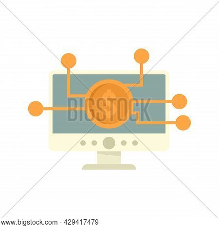 Crowdfunding Computer Icon. Flat Illustration Of Crowdfunding Computer Vector Icon Isolated On White
