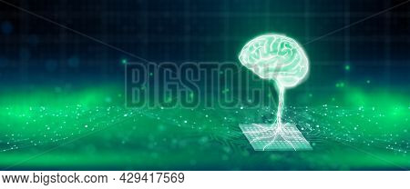 Ai Chipset With Human Brain On Computer Circuit Board. Artificial Intelligence, Data Mining, And Dee