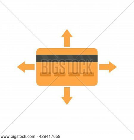 Crowdfunding Gold Credit Card Icon. Flat Illustration Of Crowdfunding Gold Credit Card Vector Icon I