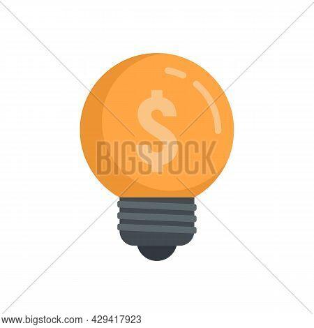 Crowdfunding Idea Bulb Icon. Flat Illustration Of Crowdfunding Idea Bulb Vector Icon Isolated On Whi