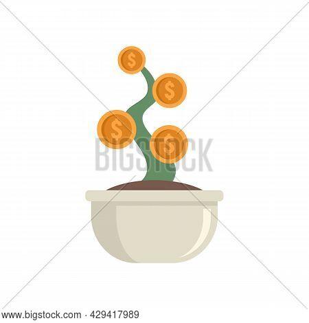 Crowdfunding Money Plant Pot Icon. Flat Illustration Of Crowdfunding Money Plant Pot Vector Icon Iso