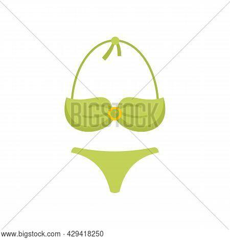 Bikini Swimsuit Icon. Flat Illustration Of Bikini Swimsuit Vector Icon Isolated On White Background