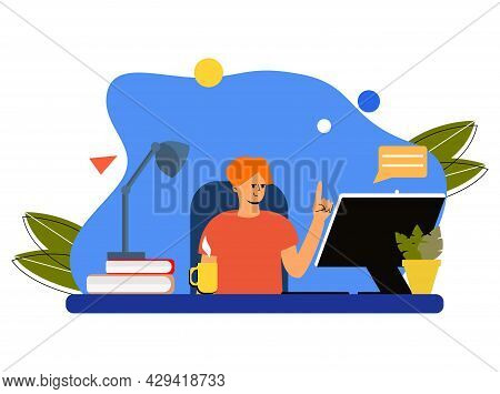 A Student Is Sitting Studying Online At A Computer. Online Training For Doing Homework. Flat Vector