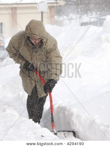 Snow Shoveling In Winter Blizzard