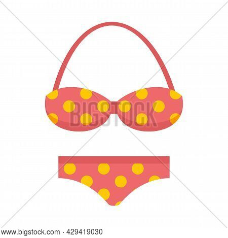 Halter Swimsuit Icon. Flat Illustration Of Halter Swimsuit Vector Icon Isolated On White Background