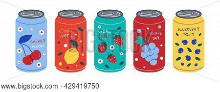Soda Can. Sweet Fizzy Water With Different Tastes, Colorful Cold Drink With Juice And Sweeteners, Ca