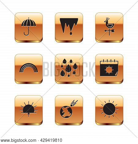 Set Umbrella, Sunrise, Comet Falling Down Fast, Water Drop, Rainbow, Rooster Weather Vane, And Icicl