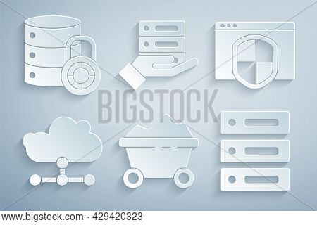 Set Coal Mine Trolley, Browser With Shield, Network Cloud Connection, Server, Data, Web Hosting, And