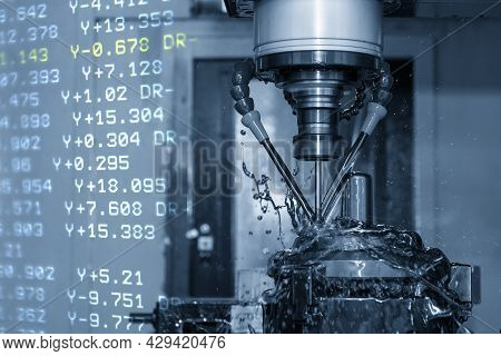The Abstract Scene Cnc Milling Machine Cutting The Shell Mold Parts And G-code Data Background. The