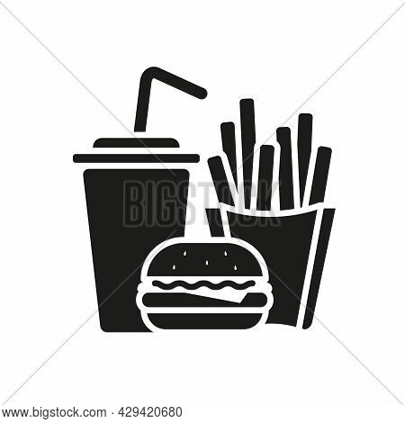 Hamburger Soda Takeaway And French Fries, Fast Food Icon Sign