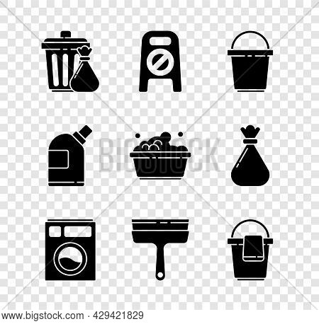 Set Trash Can And Garbage Bag, Wet Floor Cleaning In Progress, Bucket, Washer, Rubber Cleaner For Wi