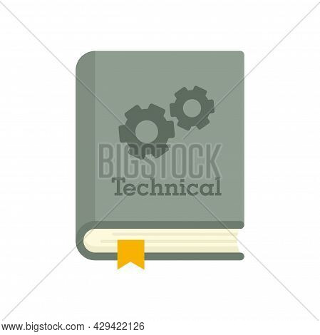 Technical Book Icon. Flat Illustration Of Technical Book Vector Icon Isolated On White Background
