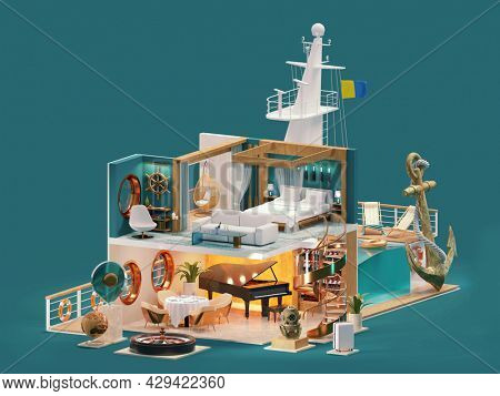 Cruise ship interior cross-section. Cruise ship cabin, restaurant, swimming pool, casino. Cruise liner activities and entertainment. Sea travel and vacations. 3d illustration