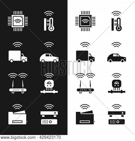 Set Smart Car System With Wireless, Truck, Processor Microcircuits Cpu, Thermometer, Router And Wi-f