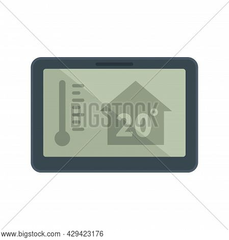 Tablet Home Climate Control Icon. Flat Illustration Of Tablet Home Climate Control Vector Icon Isola