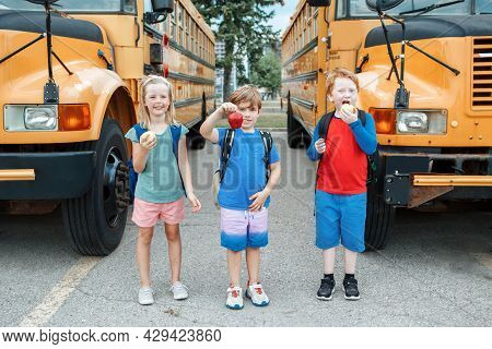 Children Boys And Girl Students Friends Eating Apples Healthy Snack By Yellow School Bus Outdoors. E